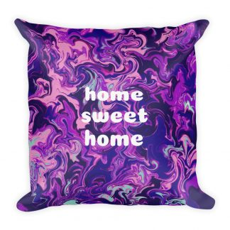 dark purple home sweet home premium throw pillow