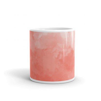 light coral watercolor mug